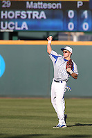 Steven Foster (10) of the Hofstra Pride in the field during a game against the UCLA Bruins at Jackie Robinson Stadium on March 14, 2015 in Los Angeles, California. UCLA defeated Hofstra, 18-1. (Larry Goren/Four Seam Images)
