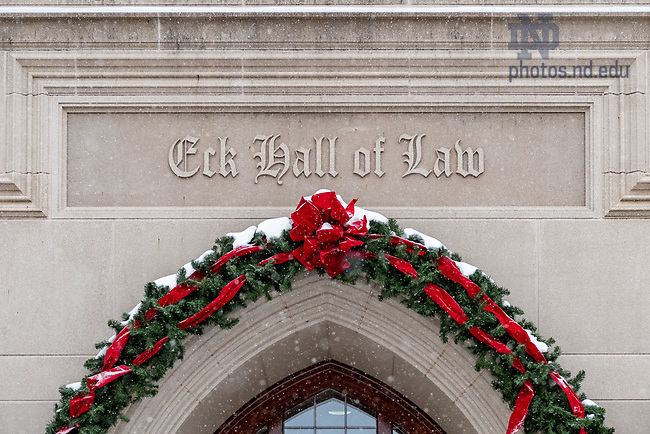 December 13, 2017; Main door to Eck Hall of Law decorated for Christmas. (Photo by Matt Cashore/University of Notre Dame)