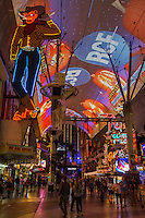 Las Vegas, Nevada.  Fremont Street Cowboy at Night.