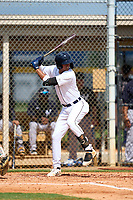 FCL Tigers West Carlos Pelegrin (33) bats during a game against the FCL Yankees on July 31, 2021 at Tigertown in Lakeland, Florida.  (Mike Janes/Four Seam Images)
