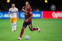 LAKE BUENA VISTA, FL - JULY 27: Everton Luiz #25 of Real Salt Lake dribbles the ball during a game between San Jose Earthquakes and Real Salt Lake at ESPN Wide World of Sports on July 27, 2020 in Lake Buena Vista, Florida.