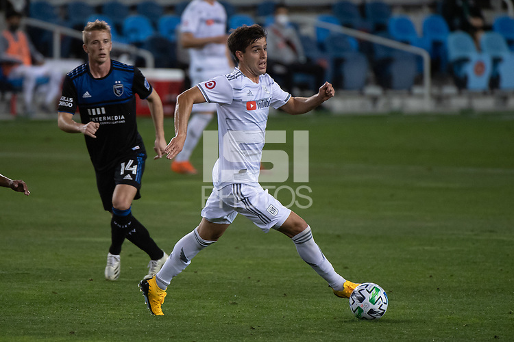 SAN JOSE, CA - NOVEMBER 04: Francisco Ginella #8 of the Los Angeles FC dribbles the ball during a game between Los Angeles FC and San Jose Earthquakes at Earthquakes Stadium on November 04, 2020 in San Jose, California.
