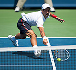 Novak Djokovic of Serbia loses in the final of the Western & Southern Open in Mason, OH on August 19, 2012.