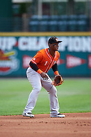 Norfolk Tides shortstop Ozzie Martinez (1) during a game against the Rochester Red Wings on July 17, 2016 at Frontier Field in Rochester, New York.  Rochester defeated Norfolk 3-2.  (Mike Janes/Four Seam Images)