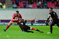 Wyn Jonesof Scarlets is tackled by Godlen Masimla of Southern Kings during the Guinness Pro14 Round 5 match between Scarlets and Isuzu Southern Kings at the Parc Y Scarlets in Llanelli, Wales, UK. Saturday 29 September 2018