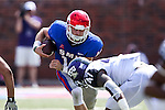 Southern Methodist Mustangs quarterback Garrett Krstich (14) in action during the game between the TCU Horned Frogs and the SMU Mustangs at the Gerald J. Ford Stadium in Fort Worth, Texas. TCU defeats SMU 56 to 0.