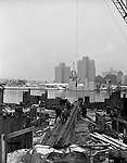 Pittsburgh PA:  View of Gateway Center from the South Side construction site for the Fort Pitt Bridge and Tunnels.