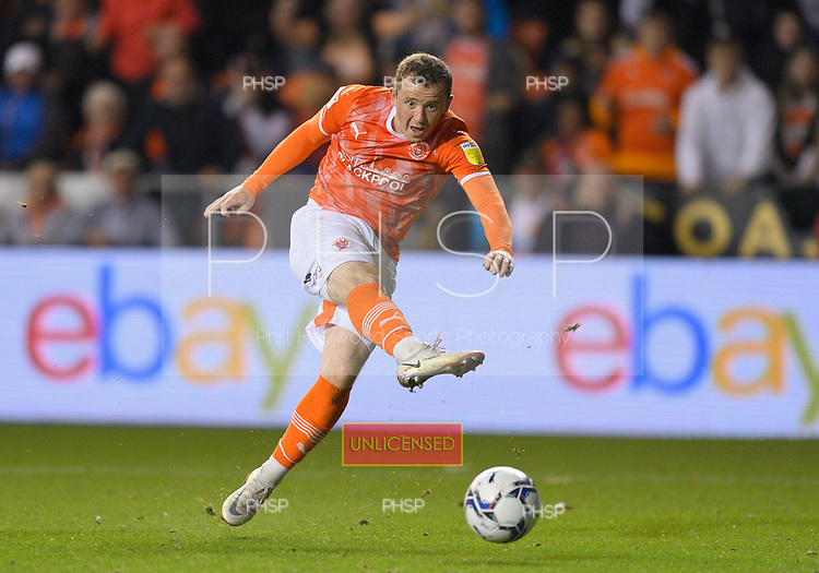 17/08/2021 Sky Bet Championship Blackpool v Coventry  <br /> <br /> Shane Lavery shot save by Simon Moore
