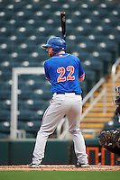 St. Lucie Mets left fielder Michael Katz (22) at bat during a game against the Fort Myers Miracle on August 9, 2016 at Hammond Stadium in Fort Myers, Florida.  St. Lucie defeated Fort Myers 1-0.  (Mike Janes/Four Seam Images)