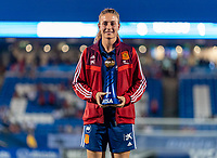 FRISCO, TX - MARCH 11: Alexia Putellas #11 of Spain receives the MVP trophy during a game between Japan and USWNT at Toyota Stadium on March 11, 2020 in Frisco, Texas.