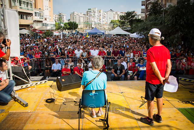 """Salvatore Borsellino & Marilena Monti - Singer, Songwriter and Author - recites """"Giudice Paolo"""" (""""Judge Paolo"""").<br /> <br /> Palermo (Sicily - Italy), 19/07/2017. """"Basta depistaggi e omertà di Stato!"""" (""""Stop disinformation & omertá by the State!"""")(1). Public event to commemorate the 25th Anniversary of the assassination of the anti-mafia Magistrate Paolo Borsellino along with five of his police """"scorta"""" (Escorts from the special branch of the Italian police force who protect Judges): Agostino Catalano, Emanuela Loi (The first Italian female member of the police special branch and the first woman of this branch to be killed on duty), Vincenzo Li Muli, Walter Eddie Cosina and Claudio Traina. The event was held at Via D'Amelio, the road where Borsellino was killed. Family members of mafia victims, amongst others, made speeches about their dramatic experiences, mafia violence and unpunished crimes, State cover-ups, silence ('omertá'), and misinformation. Speakers included, amongst others, Vincenzo Agostino & Augusta Schiera, Salvatore & Cristina Catalano, Graziella Accetta, Massimo Sole, Paola Caccia, Luciano Traina, Angela Manca, Stefano Mormile, Ferdinando Imposimato, Judge Nino Di Matteo. The event ended with the screening of the RAI docu-fiction, 'Adesso Tocca A Me' ('Now it's My Turn' - Watch it here: http://bit.ly/2w3WJUX ).<br /> <br /> For more info & a video of the event please click here: http://bit.ly/2eQfNT3 & http://bit.ly/2eQbmrj & http://19luglio1992.com & http://bit.ly/2he8hCj<br /> <br /> (1) 'Omerta' is the term used in Italy to refer to the code of silence used by mafia organisations, as well as the culture of silence that is entrenched in society at large (especially among victims of mafia crimes, as they fear recriminations), about the existence of organised crime and its activities."""