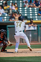 Jared Walsh (14) of the Salt Lake Bees bats against the Fresno Grizzlies at Smith's Ballpark on September 3, 2018 in Salt Lake City, Utah. The Grizzlies defeated the Bees 7-6. (Stephen Smith/Four Seam Images)