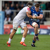 3rd October 2021; AJ Bell stadium, Eccles, Greater Manchester, England: Gallagher Premiership Rugby, Sale v Exeter ; Cobus Weise of Sale Sharks is tackled