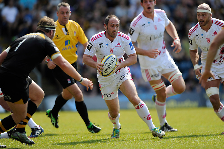 Julien Dupuy of Stade Francais sniffs out the tryline during the first leg of the European Rugby Champions Cup play-off match between London Wasps and Stade Francais at Adams Park on Sunday 18th May 2014 (Photo by Rob Munro)