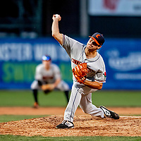29 August 2019: Connecticut Tigers pitcher Bryce Tassin on the mound against the Vermont Lake Monsters at Centennial Field in Burlington, Vermont. The Tigers defeated the Lake Monsters 6-2 in the first game of their NY Penn League double-header.  Mandatory Credit: Ed Wolfstein Photo *** RAW (NEF) Image File Available ***