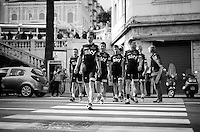 Team SKY as Reservoir Dogs in the streets of San Remo<br /> <br /> returning to the teambus from the Giro 2015 Official Team Presentation