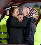 Robbie Neilson applauds the Hearts fans