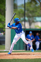 Dunedin Blue Jays Demi Orimoloye (6) during a Florida State League game against the Clearwater Threshers on April 7, 2019 at Jack Russell Memorial Stadium in Clearwater, Florida.  Dunedin defeated Clearwater 2-1.  (Mike Janes/Four Seam Images)