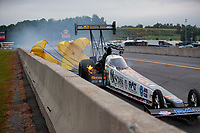 Sep 14, 2019; Mohnton, PA, USA; NHRA top fuel driver Austin Prock after exploding an engine during qualifying for the Reading Nationals at Maple Grove Raceway. Mandatory Credit: Mark J. Rebilas-USA TODAY Sports
