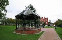 A gazebo in a park in Llandrindod Wells in Powys, mid Wales, UK
