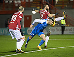 Hamilton Accies v St Johnstone…09.12.17…  New Douglas Park…  SPFL<br />Michael O'Halloran is denied a late chance to make it 2-0 by Ioannis Skondras<br />Picture by Graeme Hart. <br />Copyright Perthshire Picture Agency<br />Tel: 01738 623350  Mobile: 07990 594431