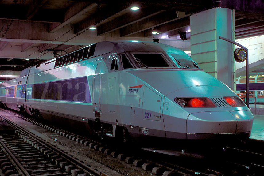 TGV, train, Paris, France, Europe, TGV high-speed train at the Gare Montparnasse train station.