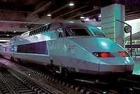 TGV, train, Paris, France, Europe, TGV high-speed train at the Gare Montparnasse train station.