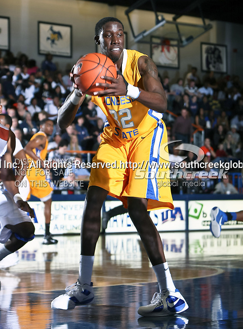 McNeese State Cowboys center Preston David (32) in action during the game between the McNeese State Cowboys and the UTA Mavericks held at the University of Texas at Arlington's, Texas Hall, in Arlington, Texas.  McNeese State defeats UTA 81 to 72.