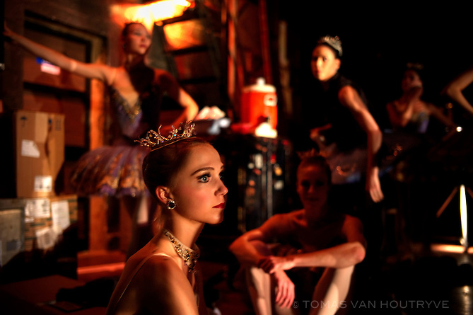 Ballerinas of the American Ballet Theater wait off stage between parts at the Karl Marx theater in Havana, Cuba on Nov. 2, 2010.