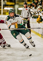 15 November 2015: University of Vermont Catamount Forward Jonathan Turk, a Senior from Calgary, Alberta, in second period action against the University of Massachusetts Minutemen at Gutterson Fieldhouse in Burlington, Vermont. The Minutemen rallied from a three goal deficit to tie the game 3-3 in their Hockey East matchup. Mandatory Credit: Ed Wolfstein Photo *** RAW (NEF) Image File Available ***