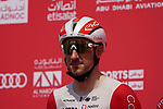 Elia Viviani (ITA) Cofidis at sign on before the start of Stage 6 of the 2021 UAE Tour running 165km from Deira Island to Palm Jumeirah, Dubai, UAE. 26th February 2021.  <br /> Picture: Eoin Clarke   Cyclefile<br /> <br /> All photos usage must carry mandatory copyright credit (© Cyclefile   Eoin Clarke)