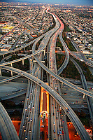 Aerial view of the interchange between the Harbor Freeway 110 and the Glenn Anderson Freeway 105, Los Angeles, California