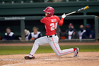 Center fielder Mitchell Okuley (24) of the Ohio State Buckeyes bats in a game against the Illinois Fighting Illini on Friday, March 5, 2021, at Fluor Field at the West End in Greenville, South Carolina. (Tom Priddy/Four Seam Images)
