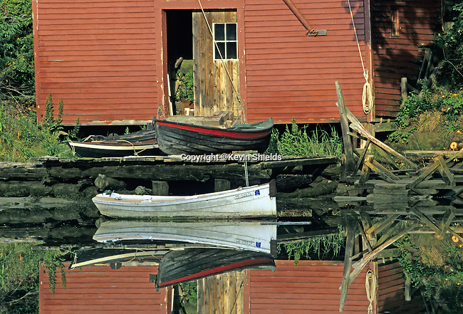 Boats at an old boathouse in Robinhood Cove, Georgetown, Maine, USA.