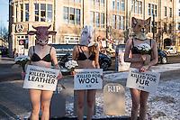 """Traueraktion der Tierrechtsorganisation PETA zum Start der Mercedes Benz-Fashion Week.<br /> Drei Aktivistinnen der Tierrechtsorganisation PETA legten fast unbekleidet bei -4°C sich mit Tiermasken von Fuchs, Kuh, Schaf am kommenden Dienstag den 17. Januar 2017 vor dem Eroeffnungsort der Berliner Modewoche vor symbolische Grabsteine. Unter dem Motto: """"Modeopfer: Getoetet fuer Pelz, Leder, Wolle"""" appellierten sie an die Modeeinkaeufer und Verbraucher, sich ueber das Tierleid zu informieren, das hinter Leder- und Wolljacken oder Kaninchenpelzwesten steckt.<br /> 1z.1.2017, Berlin<br /> Copyright: Christian-Ditsch.de<br /> [Inhaltsveraendernde Manipulation des Fotos nur nach ausdruecklicher Genehmigung des Fotografen. Vereinbarungen ueber Abtretung von Persoenlichkeitsrechten/Model Release der abgebildeten Person/Personen liegen nicht vor. NO MODEL RELEASE! Nur fuer Redaktionelle Zwecke. Don't publish without copyright Christian-Ditsch.de, Veroeffentlichung nur mit Fotografennennung, sowie gegen Honorar, MwSt. und Beleg. Konto: I N G - D i B a, IBAN DE58500105175400192269, BIC INGDDEFFXXX, Kontakt: post@christian-ditsch.de<br /> Bei der Bearbeitung der Dateiinformationen darf die Urheberkennzeichnung in den EXIF- und  IPTC-Daten nicht entfernt werden, diese sind in digitalen Medien nach §95c UrhG rechtlich geschuetzt. Der Urhebervermerk wird gemaess §13 UrhG verlangt.]"""