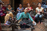 Women Weaving on the Streets of Bhaktapur, Nepal
