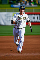 Todd Cunningham (9) of the Salt Lake Bees hustles towards third base against the Memphis Redbirds in Pacific Coast League action at Smith's Ballpark on May 24, 2016 in Salt Lake City, Utah. The Bees defeated the Redbirds 7-5. (Stephen Smith/Four Seam Images)