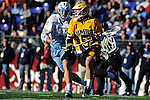 Face-Off Classic: Attackman Rob Grimm #5 of the UMBC Retrievers attempts to make a move on Midfielder John Ranagan #31 Hopkins during the UMBC v Johns Hopkins mens lacrosse game at M&T Bank Stadium on March 10, 2012 in Baltimore, Maryland. (Ryan Lasek/ Eclipse Sportswire)