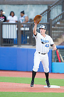 Hudson Valley Renegades first baseman Casey Gillaspie (43) stretches for a throw during the game against the Brooklyn Cyclones at Dutchess Stadium on June 18, 2014 in Wappingers Falls, New York.  The Cyclones defeated the Renegades 4-3 in 10 innings.  (Brian Westerholt/Four Seam Images)