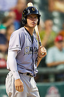Omaha Storm Chasers outfielder Wil Myers #8 on deck during the Pacific Coast League baseball game against the Round Rock Express on July 20, 2012 at the Dell Diamond in Round Rock, Texas. The Chasers defeated the Express 10-4. (Andrew Woolley/Four Seam Images).