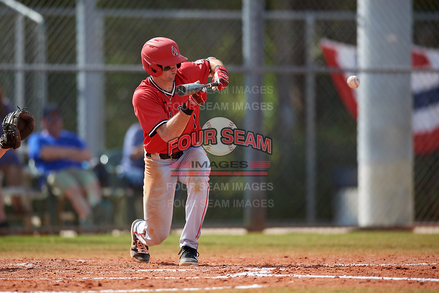 Ball State Cardinals center fielder Aaron Simpson (1) bunts during a game against the Mount St. Mary's Mountaineers on March 9, 2019 at North Charlotte Regional Park in Port Charlotte, Florida.  Ball State defeated Mount St. Mary's 12-9.  (Mike Janes/Four Seam Images)