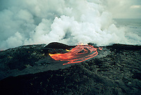 Aerial view of a volcanic lava flow.