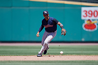 Scranton/Wilkes-Barre RailRiders shortstop Gleyber Torres (7) fields a ground ball during a game against the Rochester Red Wings on June 7, 2017 at Frontier Field in Rochester, New York.  Scranton defeated Rochester 5-1.  (Mike Janes/Four Seam Images)