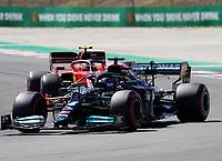 1st May 2021; Algarve International Circuit, in Portimao, Portugal; F1 Grand Prix of Portugal, qualification sessions;  Lewis Hamilton GBR 44, Mercedes-AMG Petronas Formula One Team ahead of Carlos Sainz Jr. ESP 55, Scuderia Ferrari Mission Winnow