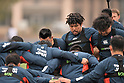 Rugby Japan national team training session in Toulouse