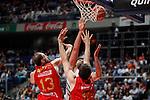 Real Madrid´s Felipe Reyes (C) and CAI Zaragoza´s Rudez and Sanikidze during 2013-14 Liga Endesa basketball match at Palacio de los Deportes stadium in Madrid, Spain. May 30, 2014. (ALTERPHOTOS/Victor Blanco)