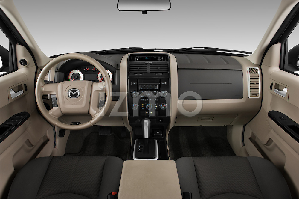 Straight dashboard view of a 2009 Mazda Tribute Hybrid.