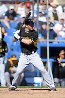 Infielder Brent Morel (79) of the Pittsburgh Pirates during a spring training game against the Toronto Blue Jays on February 28, 2014 at Florida Auto Exchange Stadium in Dunedin, Florida.  Toronto defeated Pittsburgh 4-2.  (Mike Janes/Four Seam Images)