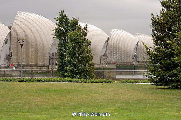 The Thames Barrier, seen from Thames Barrier Park in Newham, London.