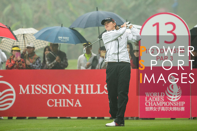 Celine Herbin of France tees off at the 13th hole during Round 4 of the World Ladies Championship 2016 on 13 March 2016 at Mission Hills Olazabal Golf Course in Dongguan, China. Photo by Victor Fraile / Power Sport Images